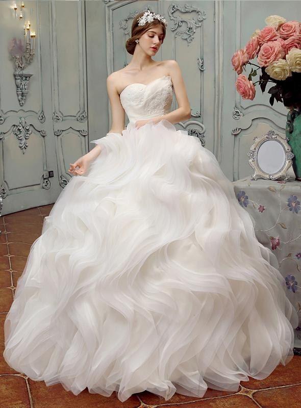 Doresuwe.com SUPPLIES 目を引く ストラップレス ティアードオーガンザ フリル プリンセス ウェディングドレス 最流行ウェディングドレス