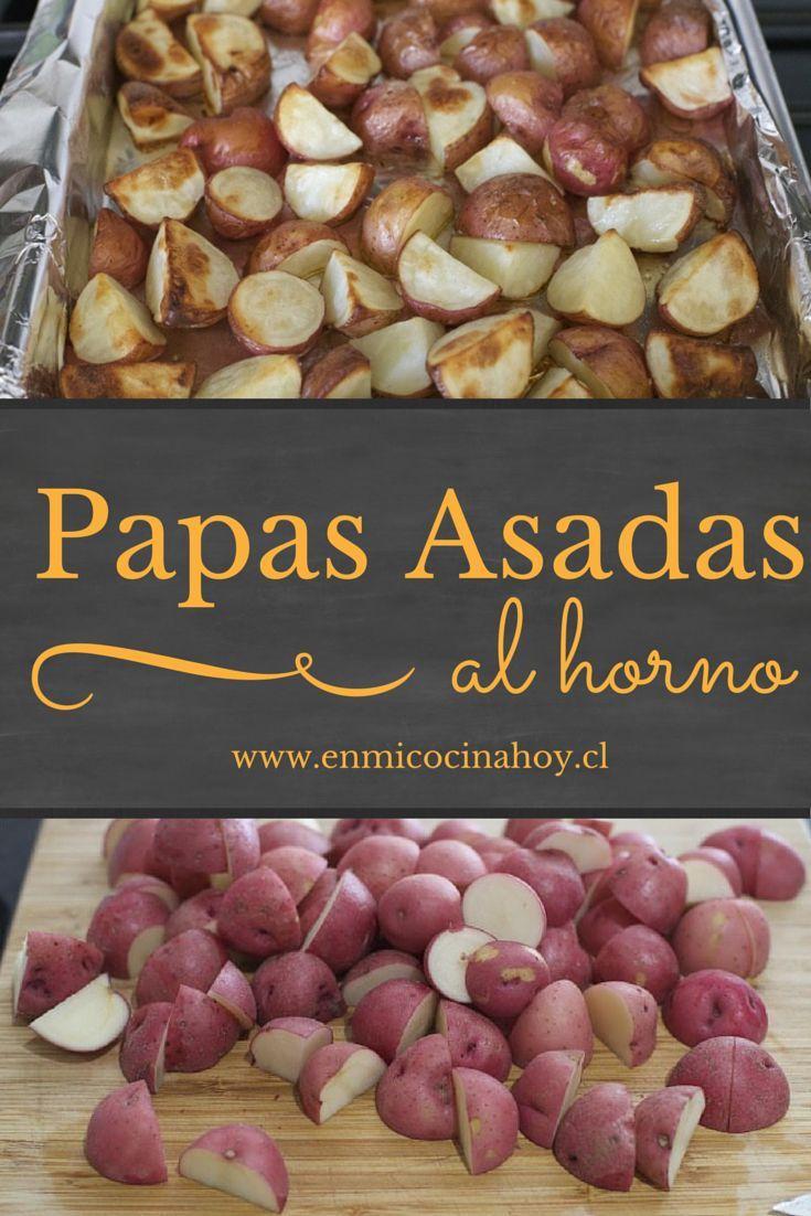 Una receta sencilla de papas asadas al horno. Es mejor usar papas pequeñas nuevas, quedan fantásticas.