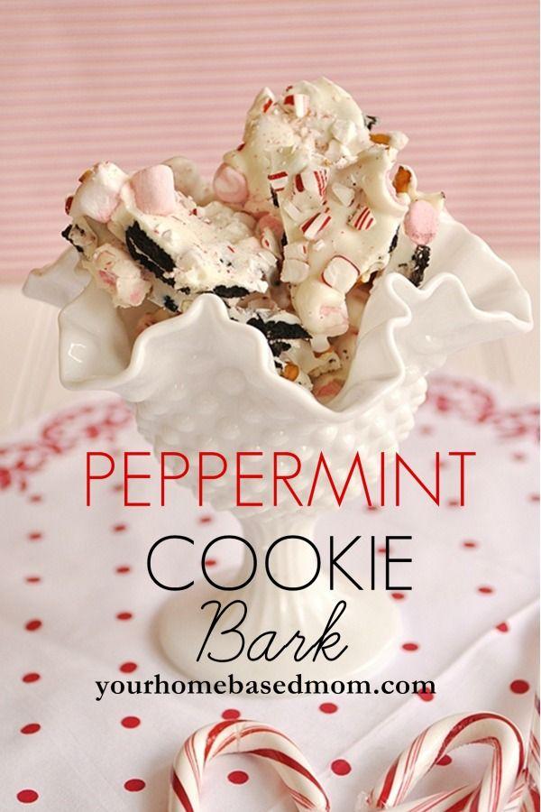 Peppermint Cookie Bark @yourhomebasedmom.com  #candy,#peppermint#desserts