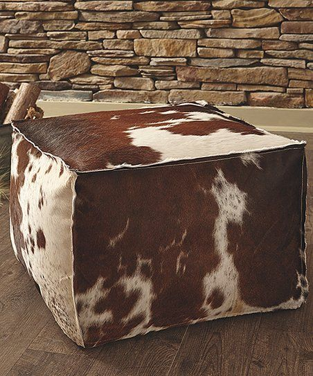 Signature Design by Ashley Brown & White Tegan Leather Pouf   zulily
