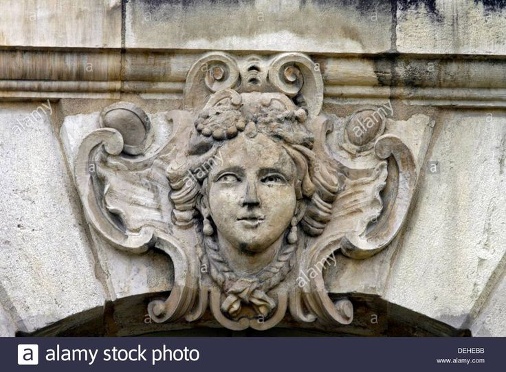 Download this stock image: Window detail gargoyles mascarons Place de la Bourse stock exchange Bordeaux City Atlantic Coast Aquitaine France - DEHEBB from Alamy's library of millions of high resolution stock photos, illustrations and vectors.