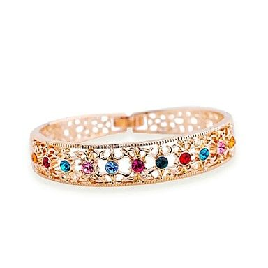 Exquisite Top Quality 18K Rose Gold Plated Colorful Austria Crystals Stud Hollowed-out Cuff Bangle  – USD $ 31.99