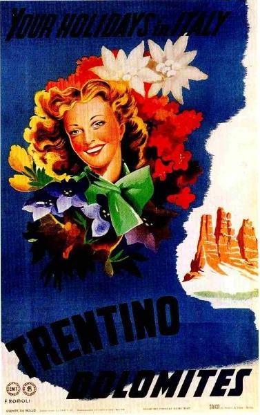 Manifesto pubblicitario (1947)  #Dolomiti - #Trentino
