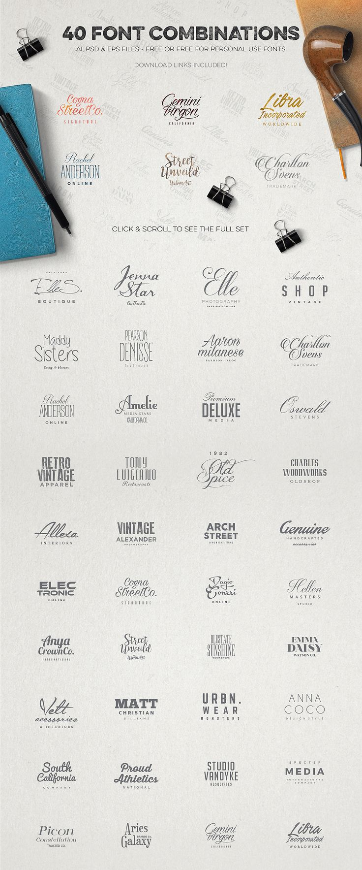 This bundle featues our 5 awesome logo creation kits and 4 free bonus logo sets, and not just any sets but some of our best selling ones! The regular price of all of the items included is 120$ and you can buy all together for only 39$!