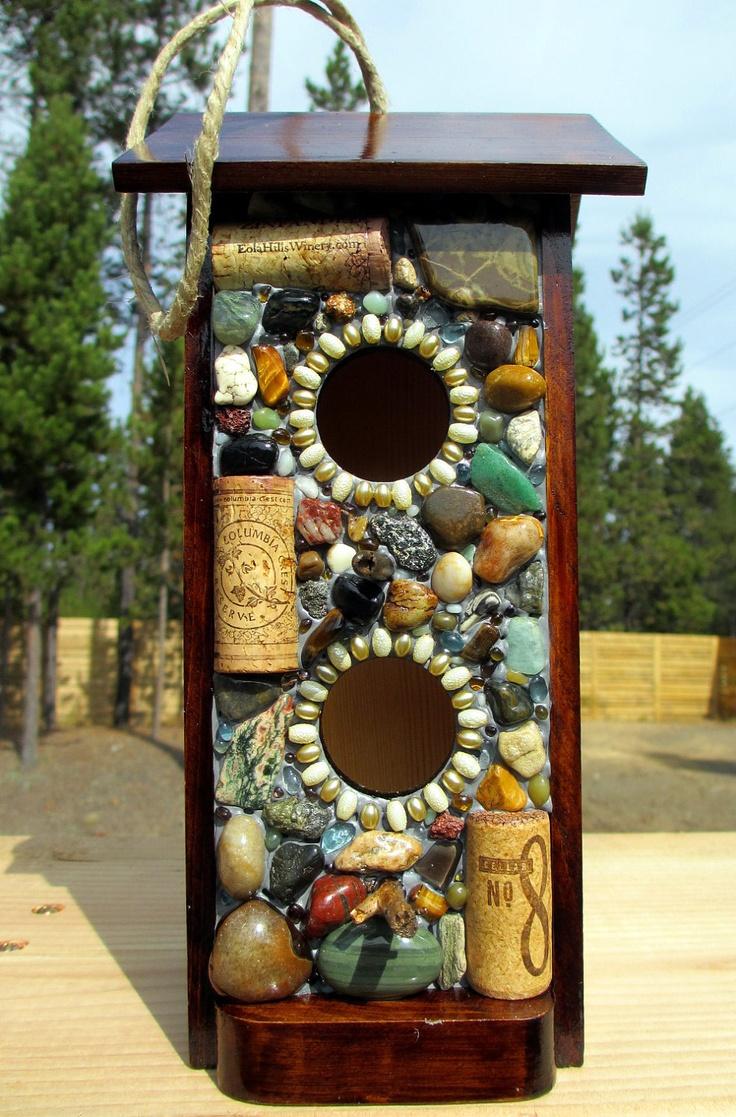 How to make a bird house - Mosaic Stone And Wine Cork Birdhouse Bird Feeder