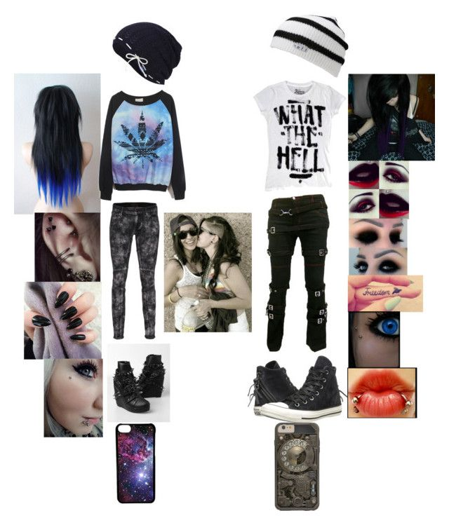 """""""Cute Emo Lesbian couple"""" by levi-lovely ❤ liked on Polyvore featuring beauty, Neff, Converse, Abbey Dawn, Koral, Keds and CellPowerCases"""