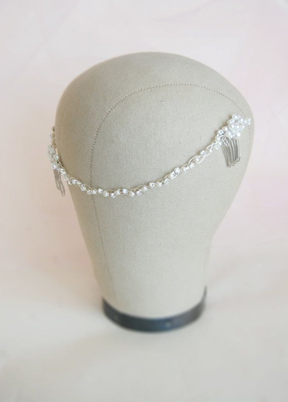 Wedding pearl head band, pearl hair comb, bridal hair brooch, $125