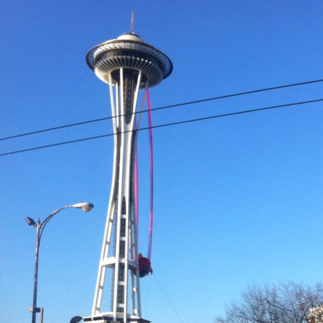 Seattle Space Needle with red Angry Bird! Where are the pigs?? :)