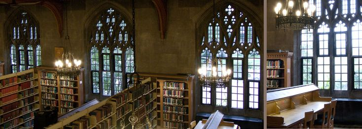 Located on the campus of Victoria University in the Emmanuel College building, Emmanuel Library is one of the most beautiful libraries at the University of Toronto.