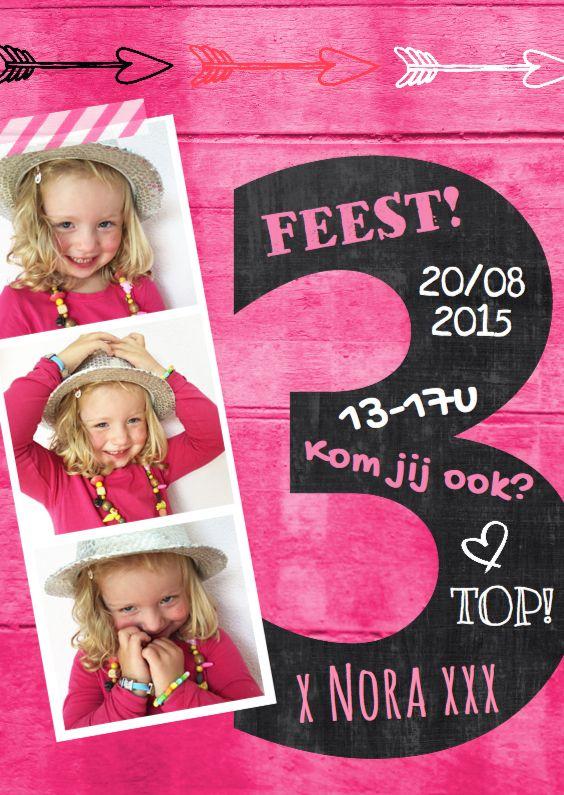 Uitnodiging 3 jaar schoolbord, verkrijgbaar bij #kaartje2go voor €0,99