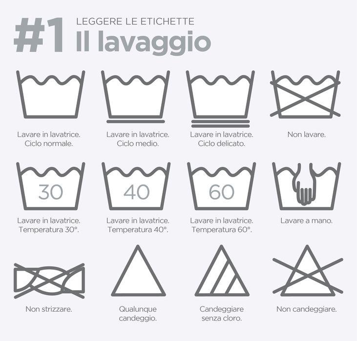 Come riconoscere i simboli che si trovano sulle etichette dei vestiti e il loro significato. Scarica la guida per la lettura delle etichette.