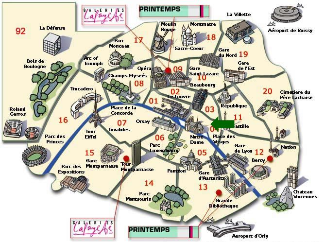 map of paris attractions | The green arrow indicates the approximate location of our apartment.