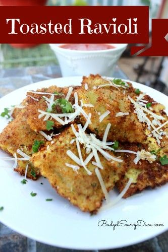 Toasted Ravioli Recipe, yum and in a red sauce!- Essentially: 1. Boil Ravioli 2. Dip in whisked egg & italian bread crumbs 3. Deep fry in veggie oil.