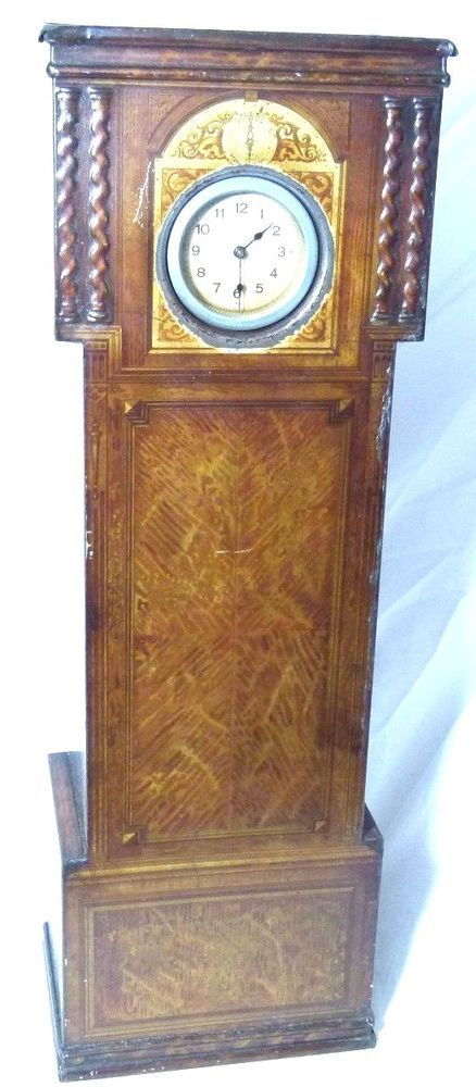 STUNNING RARE ANTIQUE VICTORY V FIGURAL GRANDFATHER CLOCK SWEETS TIN 1910-20S