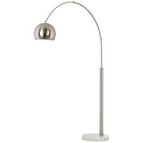 Basque steel and brushed nickel arc floor lamp style p9457