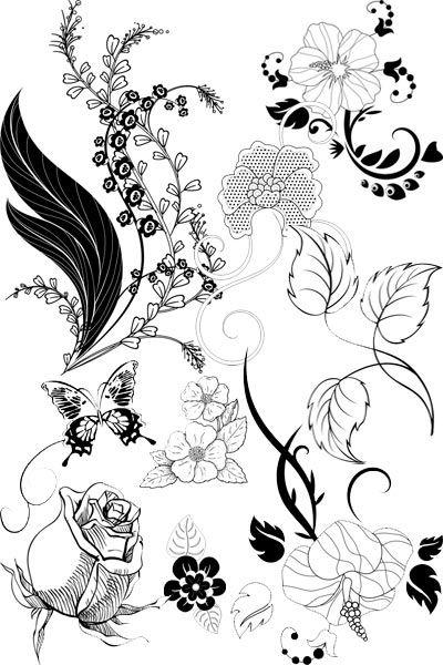 Цветы и цветочные узоры в сборнике черно-белого клипарта. .  Рисунки цветов и узоров для творчества линейные, которые...