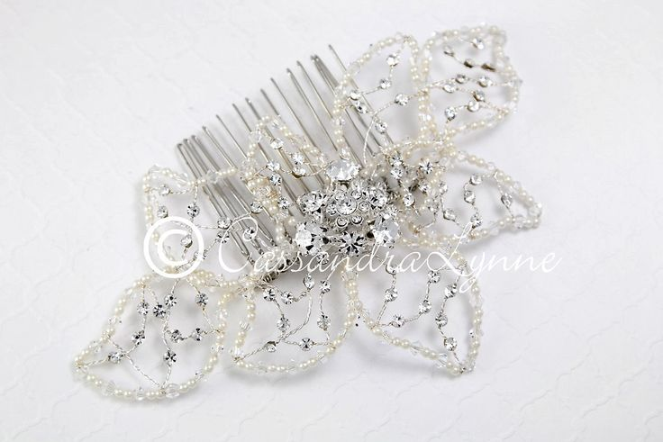 Wedding Comb of Beaded Pearl and Crystal Leaves