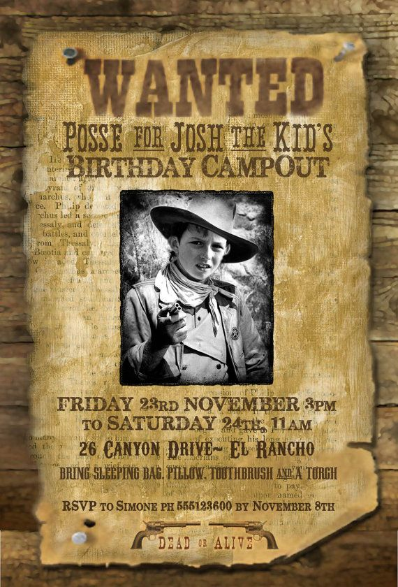 Wild west quotwanted posterquot printable party invitation with photo the old cowboys and for Wanted poster ideas