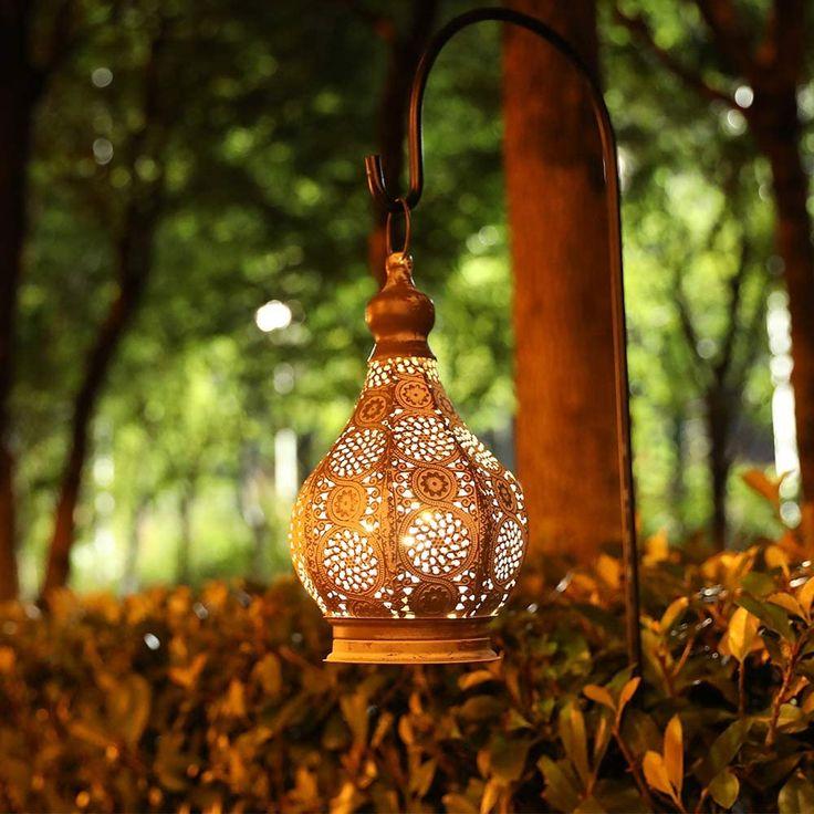JHY DESIGN Moroccan Style Vintage Lantern Metal Table Lamp