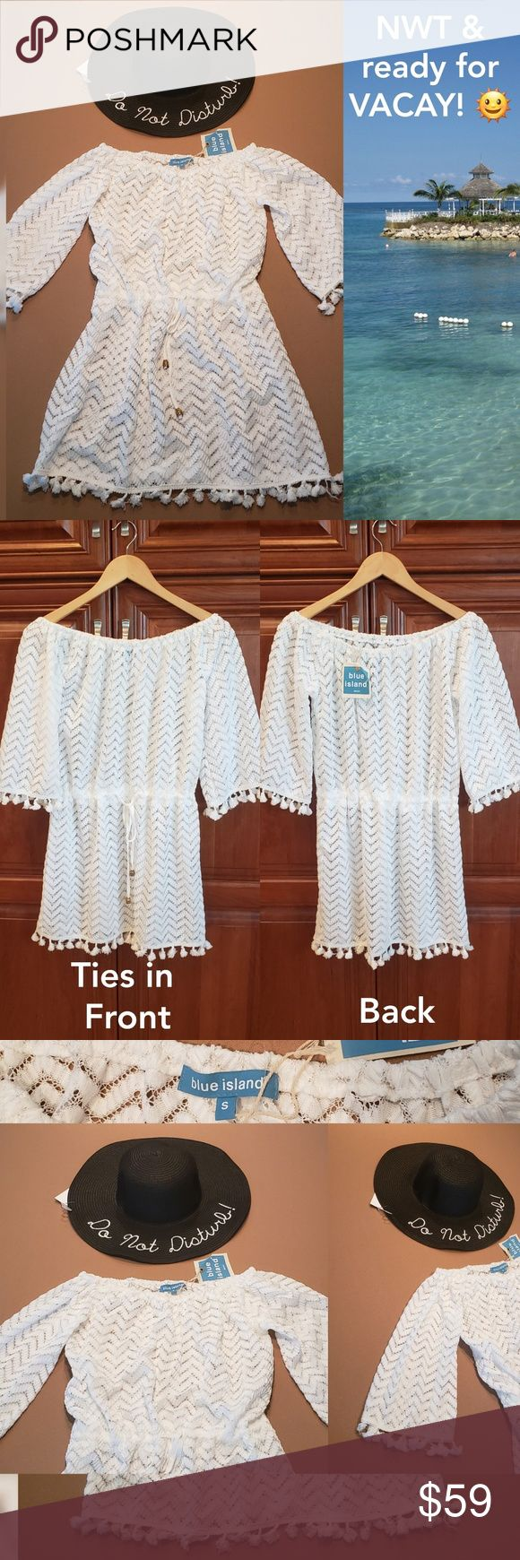 NEW Beach Cover-up & Hat ?  Perfect for Vacay ? NEW w/ tag beach cover-up ... 1
