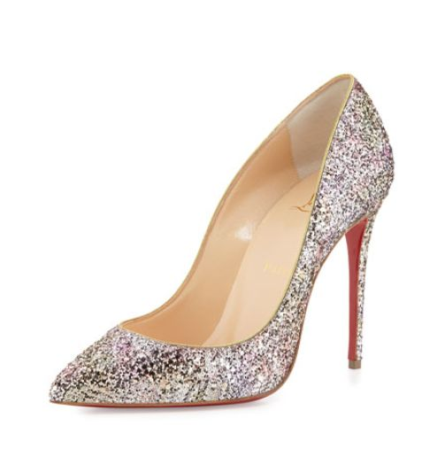 Add a Little Sparkle -- Christian Louboutin Pigalle Follies Glitter Red Sole Pump in Rosette/Gold