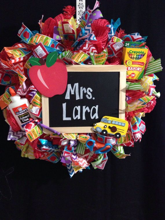 Back to School Deco Mesh WreathGift for by LeaBlitznGlitz on Etsy