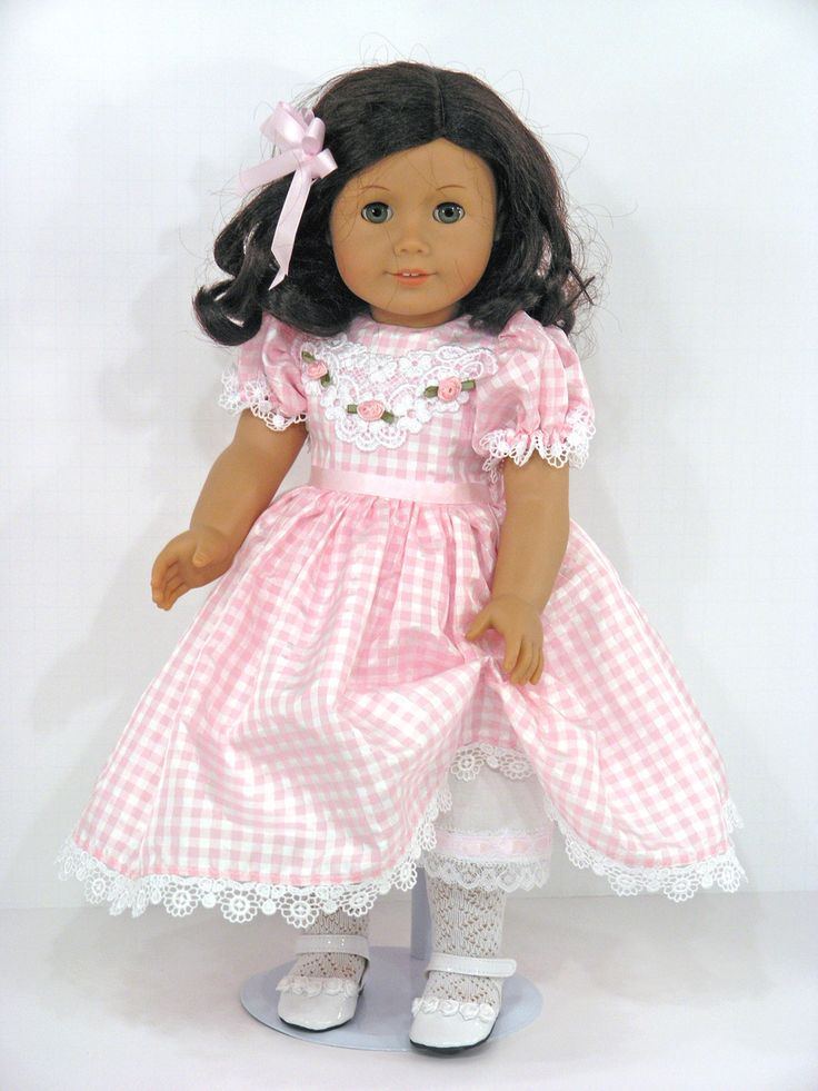 Handmade American Girl 18 inch Doll Dress Pink Check Taffeta - Exclusively Linda Doll Clothes