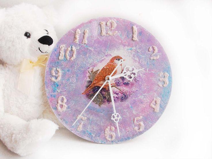 Small wall clock, Bird clock, Purple wall clock, Farmhouse clock, Silent rainbow clock, Wooden nursery decor, Bird decor, Purple wall decor