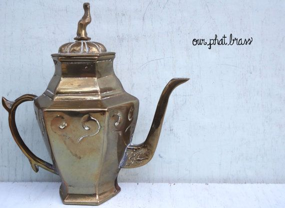 #Brass #Mediterranean #TeaPot #Pitcher #GenieLamp by #OurPhatBrass #vintage #indian #tribal