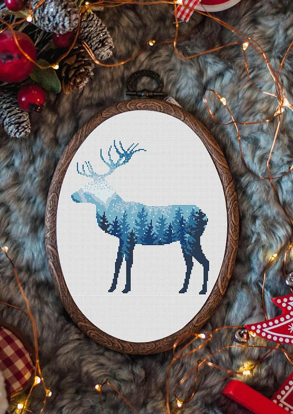 Cross Stitch Pattern PDF Fabric: 14 count White Aida Stitches: Size: 8.79 x 9.86 inches DMC Deer winter cross stitch, embroidery deer, winter cross stitch design, gift of deer lovers, simple cross-stitch, embroidery pattern, DIY pattern £4.41