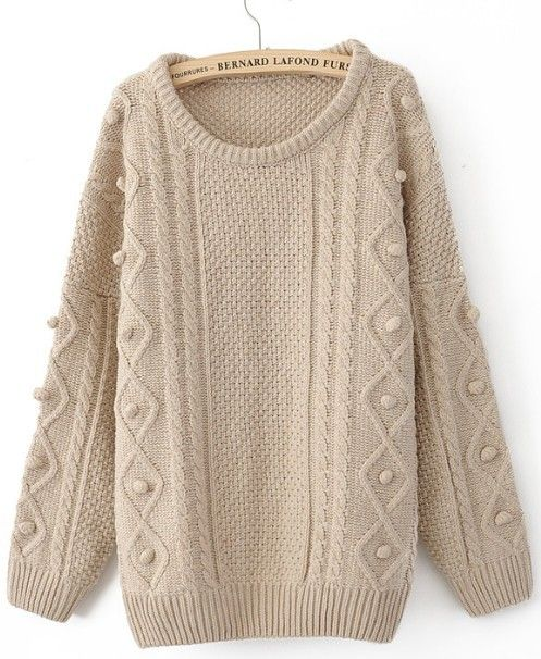 Khaki Round Neck Long Sleeve Pullovers Sweater: