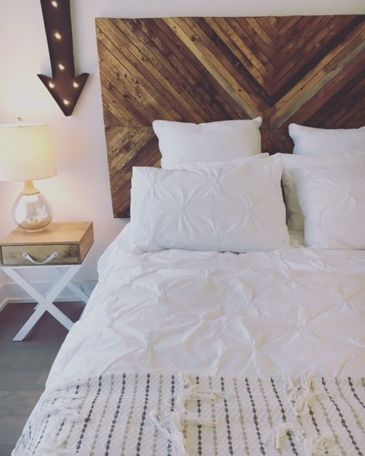 ikea hack, diy headboard, pine headboard, chevron headboard, white bedding, boho bedding, herringbone headboard, diy headboard with lights, tufted bedding, marquee lighting, bedroom ideas