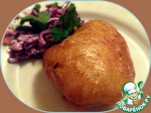Куриная кожа, фаршированная картофелем
