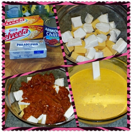 Best Chili Cheese Dip ever!  16oz. Velveeta, 8oz. cream cheese, 15oz. can chili w/ beans, 1/2c. milk 1/4c. water.  Heat in microwave on high until Velveeta is melted.  Cream cheese may not completely melt, but that is what makes it delish!  Serve with sour cream and tortilla chips and ENJOY!!!