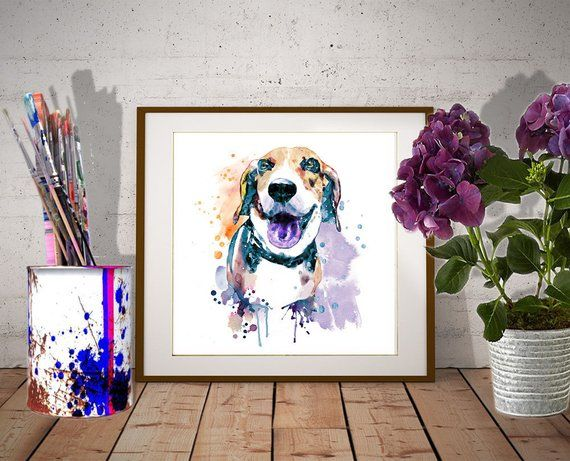 Printable Watercolor Painting Of A Sweet Beagle Dog Instant