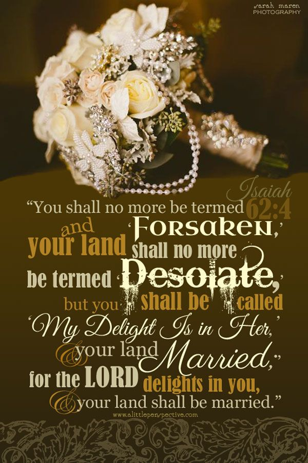 You shall no more be termed, 'Forsaken,' and your land shall no more be termed, 'Desolate,' but you shall be called, 'My Delight Is in Her,' and your land, 'Married,' for the LORD delights in you, and your land shall be married. Isa 62:4