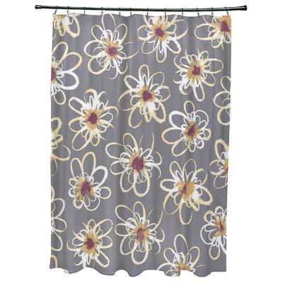 Latitude Run Cherry Penelope Floral Geometric Print Shower Curtain Color: Gray