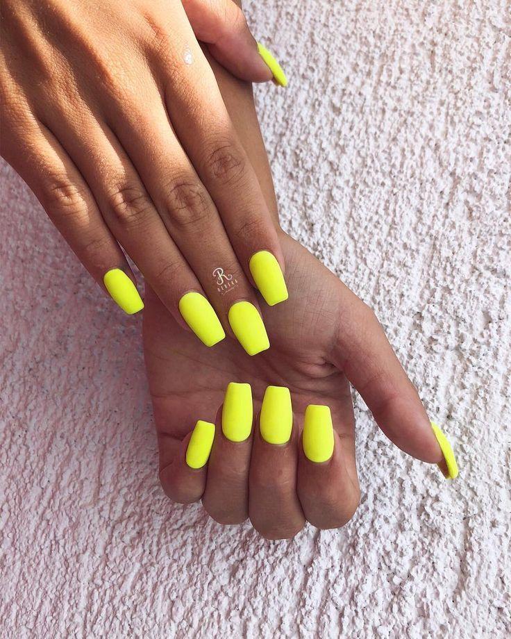 Yellow Nails Nail Nailart Neon Neonnailsummer Neon Nagel