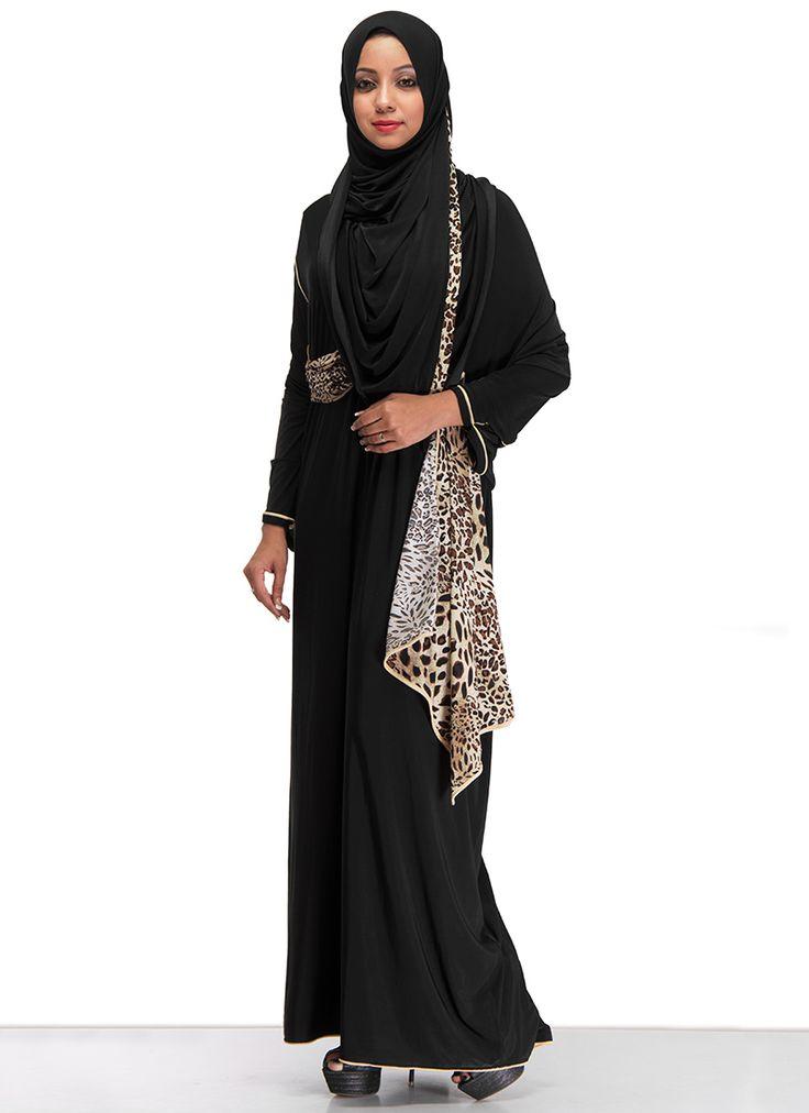 Simplistic #Black #Lycra #Abaya