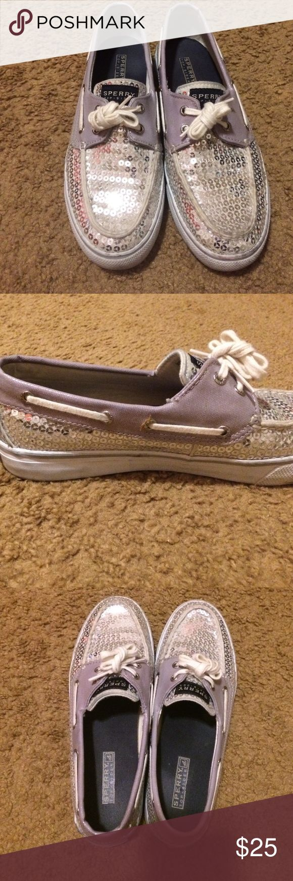 EUC Sperry Top Siders Silver sequined Sperry's size 8 1/2 only worn 2 or 3 times. Sperry Top-Sider Shoes Flats & Loafers