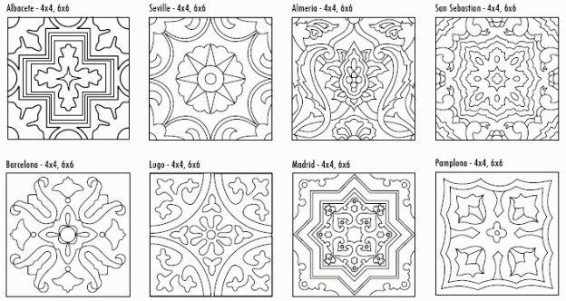 Fireclay Tile Cuerda Seca Decorative Tile Line Drawing Graphic