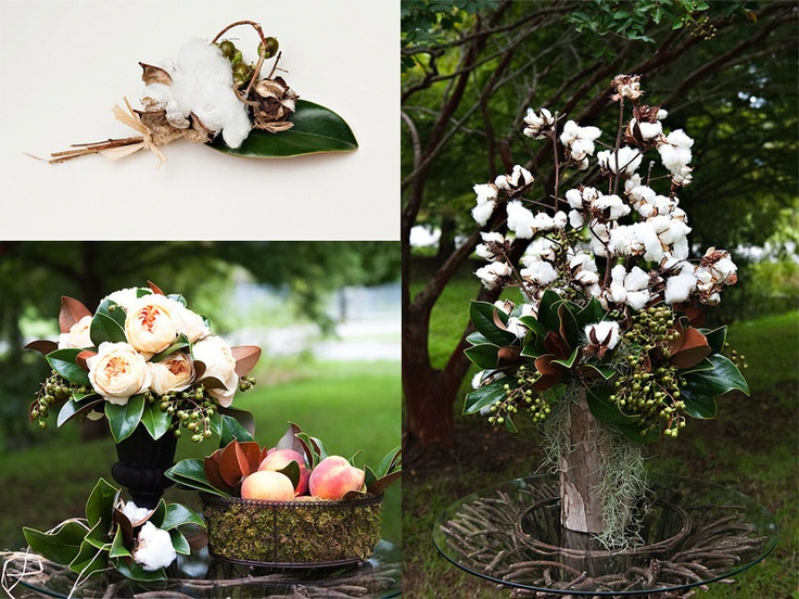 Love the idea of cotton centerpieces that we could make in advance!  Southern heritage and one of Jason's cousin's lives next to a cotton field!!