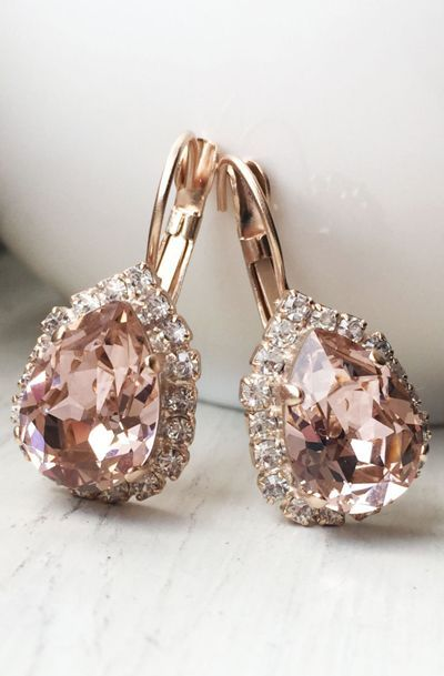 Genuine Swarovski Crystals- Rose Gold Earrings - Blush Pink