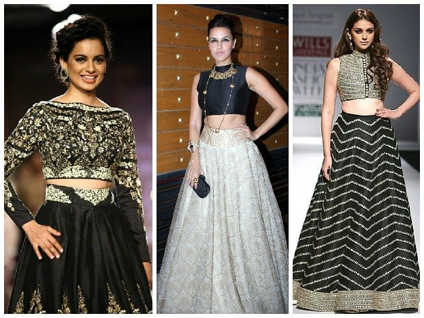 actresses wearing crop top lehengas on ramps and red carpet Neha dhupia, kangana and aditi rao hydari