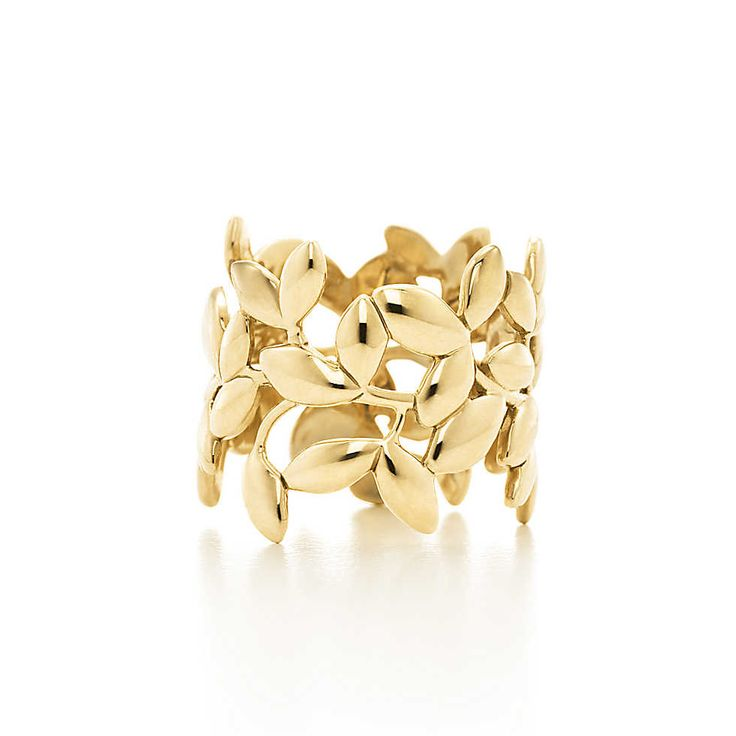 Paloma Picasso® Olive Leaf band ring in 18k gold. | Tiffany & Co.