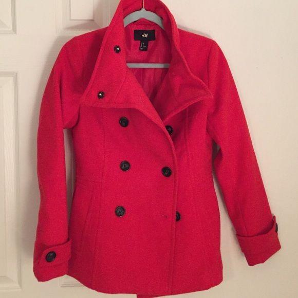 Pea Coat Beautiful and soft red pea coat H&M Jackets & Coats Pea Coats