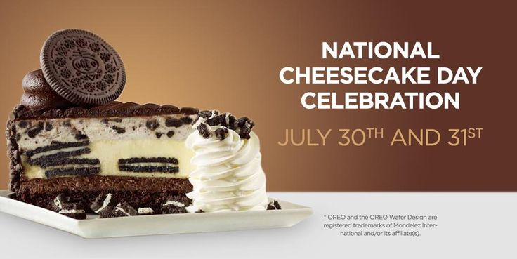 Celebrate National Cheesecake Day at The Cheesecake Factory! 1/2 Price Cheesecake 7/30-31 #ad #SayCheesecakeContest - #NationalCheesecakeDay  http://www.dealiciousmom.com/celebrate-national-cheesecake-day-cheesecake-factory-12-price-cheesecake-73031/