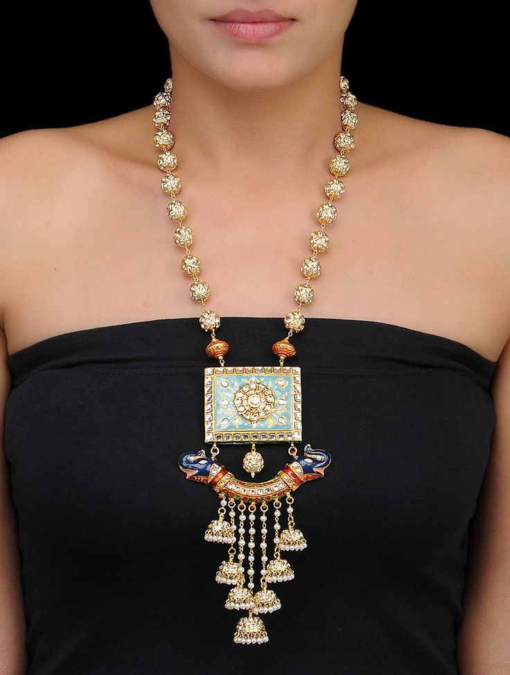 Buy Cyan Golden White Kundan and Meenakari Necklace with Pearls Thread Metal Alloy Fashion Jewelry Necklaces/Pendants Online…