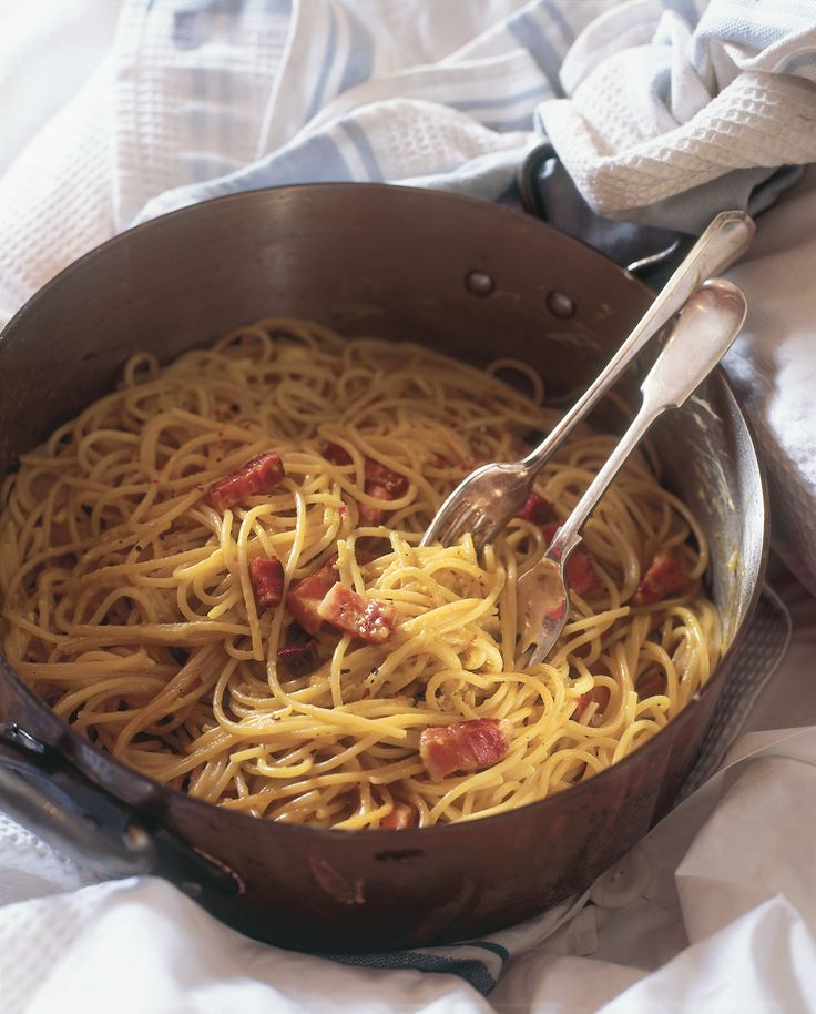 """I think spaghetti carbonara is what Meryl Streep cooks for Jack Nicholson in the film version of one of my favourite books, """"Heartburn"""", and it is so right, for that chin-dripping, love-soaked primal feast, the first time someone actually stays through the night. Yes, I know a whole pack of spaghetti is far too much for two, but I want that whole panful lugged back to the bedroom. No namby-pamby mimsy little plated arrangement. So you'll have leftovers? Just work up an appetite for them…"""