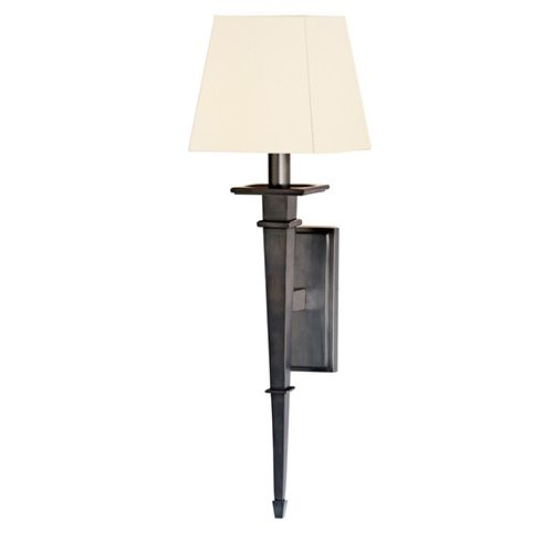 Stanford Old Bronze Square One Light Wall Sconce With White Shade WallSconces